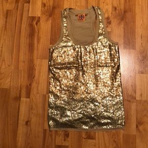 Tory Burch Gold Sequenced Top
